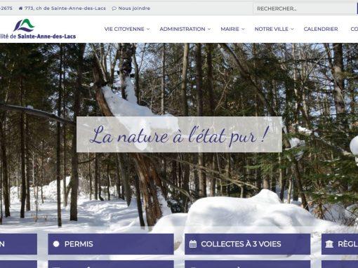 Municipalité de Sainte-Anne-des-Lacs – Conseil Marketing numérique